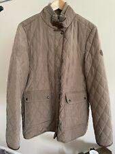 LAUREN Ralph Lauren Tan Quilted Leather Trimmed Horse Equestrian Riding Jacket