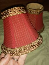 Vintage pair small red fabric lampshades, brocade trim, clip on, fabric lined