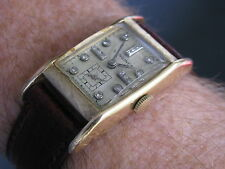Longines Vintage 14K Gold Deco Wrist Watch, Diamond Dial