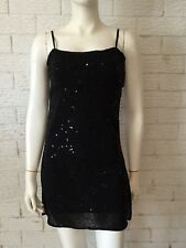 Fashion Fair Ladies Sequinned Tunic Style Top Black Size 8