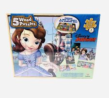 Disney Junior 5 Wooden Puzzles in Wood Storage Box