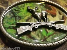 CAMO DEER RIFLE camouflage BELT BUCKLE BUCKLES metal western hunting * US SELLER