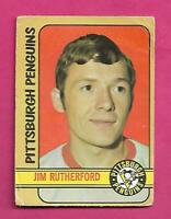 1972-73 OPC  #  15 PENGUINS JIM RUTHERFORD GOALIE ROOKIE GOOD CARD (INV# D1219)