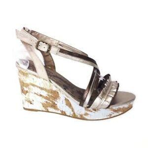 Vigoss Gold Cork Platform Wedge Strappy Sandal Women 8.5