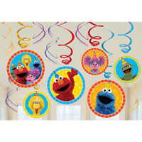 Sesame Street Elmo Dangling Swirl Decorations Birthday Party Supplies 12ct