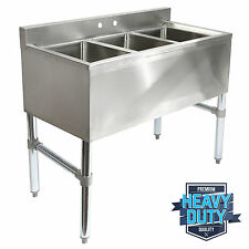 Three 3 Compartment Stainless Steel Commercial Kitchen Bar Sink