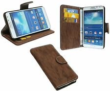 Kunstleder Hülle BRAUN Schutz Brieftasche für Samsung Galaxy Note 3 NEO N7505