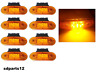8 X 9 Led Feux de Gabarit Orange 24v Avec Supports Latéral Camion Remorque Van