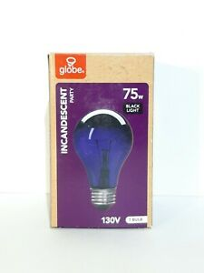 Globe 75w Incandescent Black Light Party Bulb Watts A19 130v