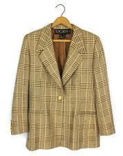 Escada Sz 42 Gold/Brown Metallic Plaid Gold One-Button Wool Blend Blazer Jacket