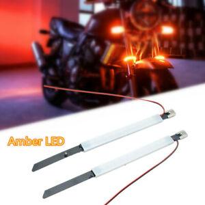 Amber LED 2Pcs Motorcycle 45mm-65mm Fork Turn Signal Strip Light Ring Lamp