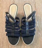 Alex Marie Womans Wedge Navy Blue Buckel Sandals Size 9.5M