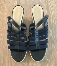 082bbdf6fc03 Alex Marie Womans Wedge Navy Blue Buckel Sandals Size 9.5M