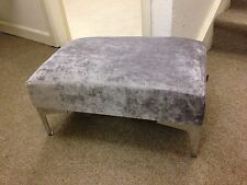 Footstool / pouffe Small box  Grey Crushed Velvet  Chrome Leg Stool British Made