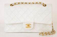 Chanel white quilted leather signature CC logo shoulder handbag purse $6500