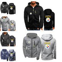 Pittsburgh Steelers Fan Hoodie Jacket Sporty Sweatshirt Zipper Coat Autumn Tops