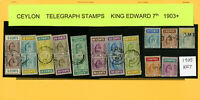 Ceylon 1903 Onward King Edward VII Telegraph Stamp Collection w/ # 13V