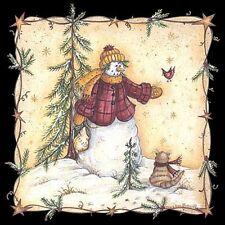 Kind Snowman Shirt, Winter, Snowman with Cat & Bird Friends - Small - 5X