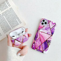 Marble Silicone Gel Case 360 Cover For Apple AirPods Pro iPhone 12 Pro Max 11