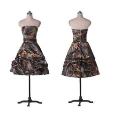 Short Tiered Camo Wedding Dresses A-Line Camouflage Appliques Bridal Gown Custom
