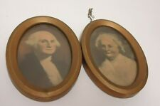 vintage george washington and wife martha picture print small oval frames joined