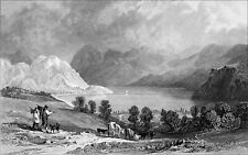 ENNERDALE WATER from HOW HALL, CUMBERLAND - Engraving from 19th century