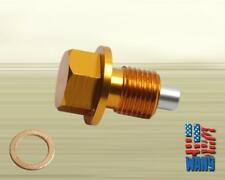 Gold M12x1.25 Magnetic Oil Pan Drain Plug+Washer for Infiniti Nissan Pontiac