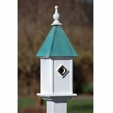 "FANCY HOME PRODUCTS BLUE BIRD HOUSE PATINA COPPER 8"" DECORATIVE BIRDHOUSE"