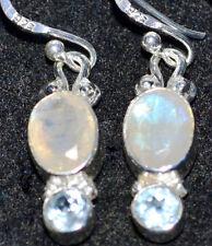 Mystic Moonstone Blue Topaz Earrings Multi Gemstone Sterling SILVER Drop Earring