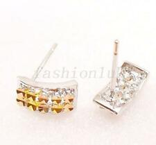 Women Girl Yellow White Multi-colour Gold Plated Bar Studs Earrings Xmas Unique