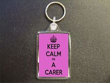 KEEP CALM I'M A CARER KEYRING BAG TAG BIRTHDAY GIFT