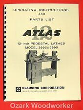 """ATLAS/CRAFTSMAN 12"""" Pedestal Metal Lathe 3995 & 3996 Parts Manual 0047"""