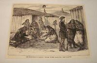 1887 magazine engraving ~ INDIAN WOMEN GAMBLING