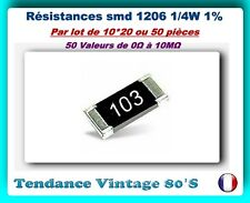 *** LOT DE 10*20 OU 50 RESISTANCES SMD 1206 1/4 WATT 1% VALEURS 0Ω à 10MΩ ***