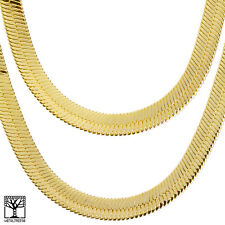 "Men's Bling Gold Toned Heavy 14 mm  24"" / 30"" Double Herringbone Chain Necklace"