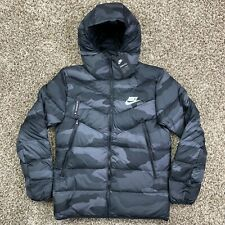 Nike Sportswear Camo Puffer Jacket Down Fill Hooded Size Large Grey Black Mens