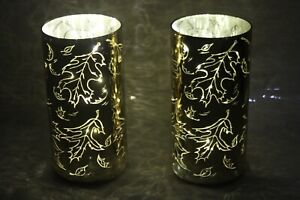 """Set of (2) 8"""" Illuminated Etched Mercury Glass Pillars by Valerie GOLD RTL$31"""