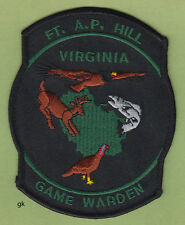 VIRGINIA  FORT A.P. HILL  GAME WARDEN POLICE  SHOULDER PATCH