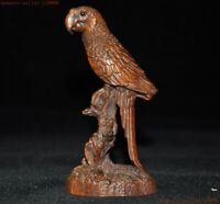 Chinese Folk Feng Shui Boxwood wood Carving Lucky Bird parrot popinjay Statue