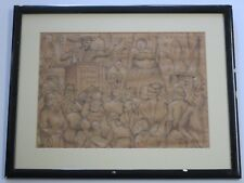ANTIQUE ART DECO DRAWING CIRCUS FREAKS 1920'S ILLUSTRATION WPA SIDESHOW ASHCAN