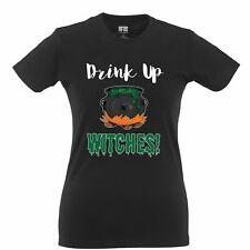 Halloween Womens TShirt Drink Up, Witches Cauldron Novelty Slogan Joke Spooky