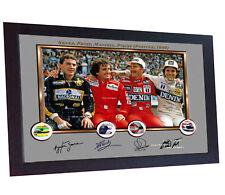 Ayrton Senna Prost Mansell Piquet signed autograph print photo F1 helmet Framed