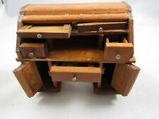 "Vintage Wooden Dollhouse Furniture- Roll Top Desk ~3.25 x 2.75"""