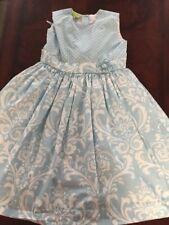 Le' Za Me Girls' Robin Egg Blue/white Easter Dress 8