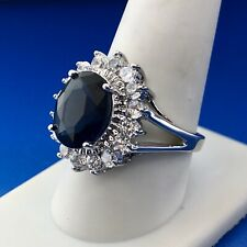 Zirconia Cz Statement Fashion Cocktail Ring Sterling Silver 925 Blue White Cubic