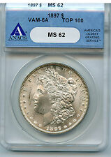 1897 MORGAN DOLLAR VAM 6A ANACS MS 62 NICE EASY TO SEE RUSTED DIES PRICE DROP!!