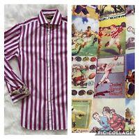 Simon Carter London Stripe Button Up Dress Shirt French Flip Cuff Long Sleeves