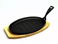 BISTECCA ghisa Sizzle piatto frizzanti & Stand piastra che servono Dish base in legno