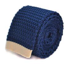 Frederick Thomas bleu marine cravate en tricot fin avec Blanc Crème Bout ft2023
