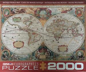 "EuroGraphics 2000 piece puzzle ""Antique World Map"" COMPLETE"